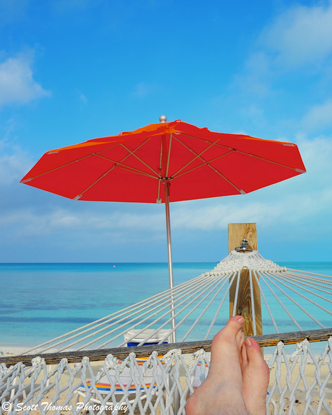 Relaxing on a hammock at Serenity Bay on Disney's Castaway Cay.