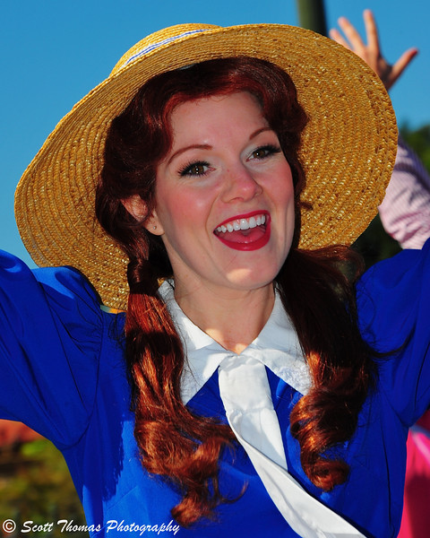 A performer in the Main Street Trolley Parade show in the Magic Kingdom.