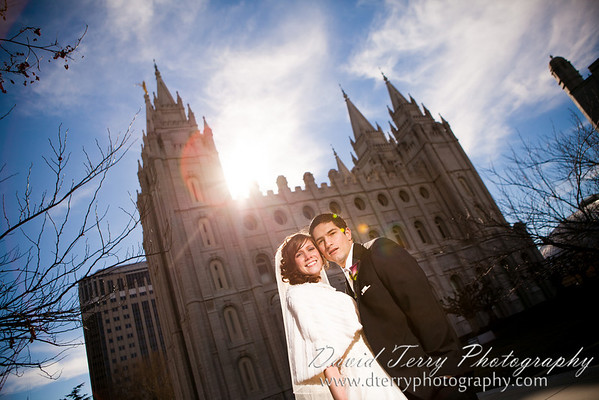 David Terry Photographyer - Spencer and Michelle - Wedding - Salt Lake Temple