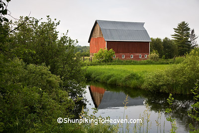 Red Barn Reflecting in Stream, Douglas County, Wisconsin