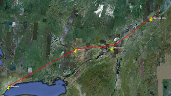 VIA Rail route in Canada