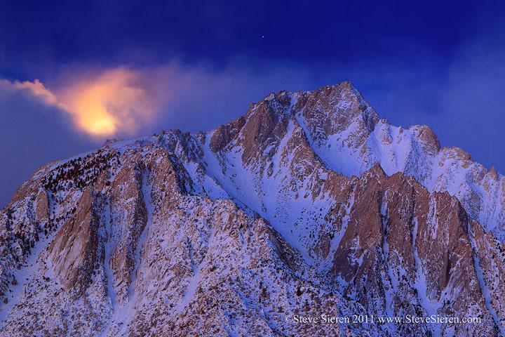 Setting moon on Lone Pine Peak in the Eastern Sierra