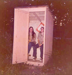 Ruth and Joann in Uncle Vic's Two-Seater Outhouse (Early 70's), Sauk County, Wisconsin