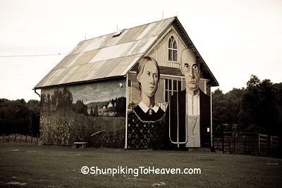 Grant Wood's American Gothic Barn Mural by Mark Benesh, Linn County, Iowa