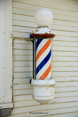 Barber Pole at Colonial Barbershop, Van Buren County, Michigan