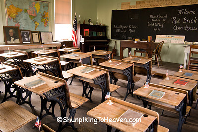 Red Old School Desks at Red Brick School, Washington County, Iowa