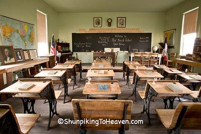 Old School Desks at Red Brick School, Washington County, Iowa