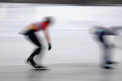 Speed skating race, Brewer Skate Park, Ottawa, Ontario.