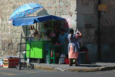 Street corner in Oaxaca, Mexico.