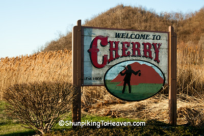 Cherry Welcome Sign with Mining Gob Piles, Bureau County, Illinois