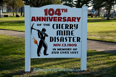 Memorial Sign to Lives Lost in the Cherry Mine Disaster, Bureau County, Illinois