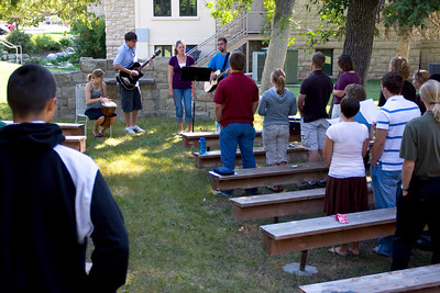 Students in the Outdoor Chapel for Worship at Orientation