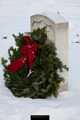 Wreath on Civil War Veteran's Grave, Forest Hill Cemetery, Madison, Wisconsin