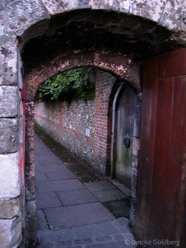 through a door