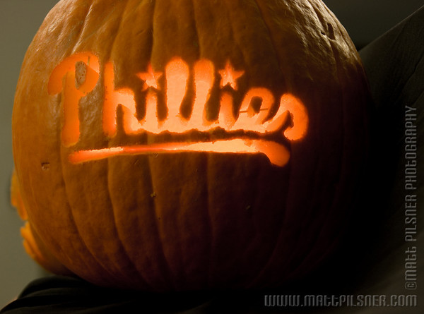 A celebratory Phillies' Pumpkin from McCarter Theatre.