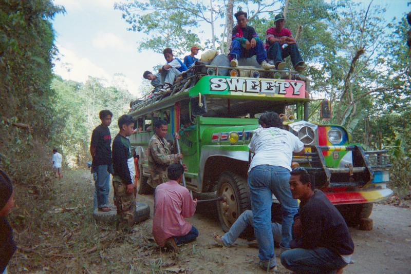 Jeepney flat tire