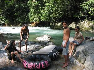 Tire tube rafting