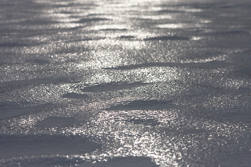 glimmering light on ice