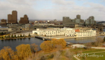 This is a fake tilt-shift of the former EB Eddy mill on the Ottawa River in Ottawa, Ontario. Again, the original low level aerial picture was obtained from a remote-controlled camera suspended below a kite.
