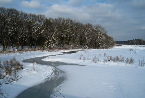 almost completely frozen river
