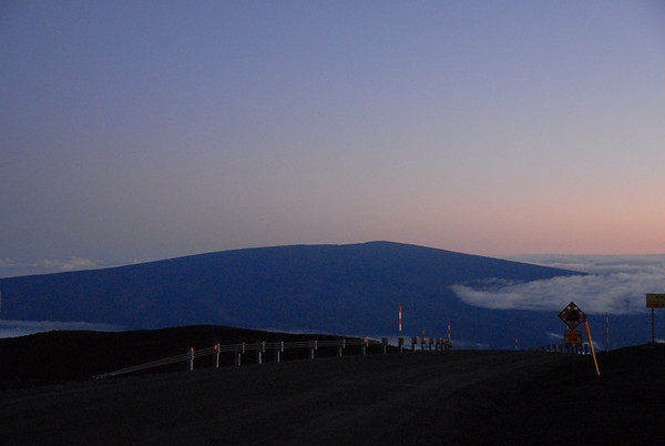 Mauna Loa viewed from Mauna Kea at sunset