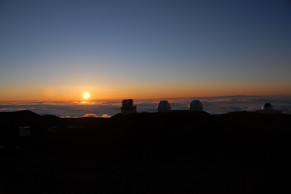 Telescopes at Sunset. Mauna Kea, Hawaii