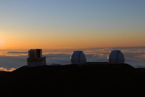 Telescopes in the sunset
