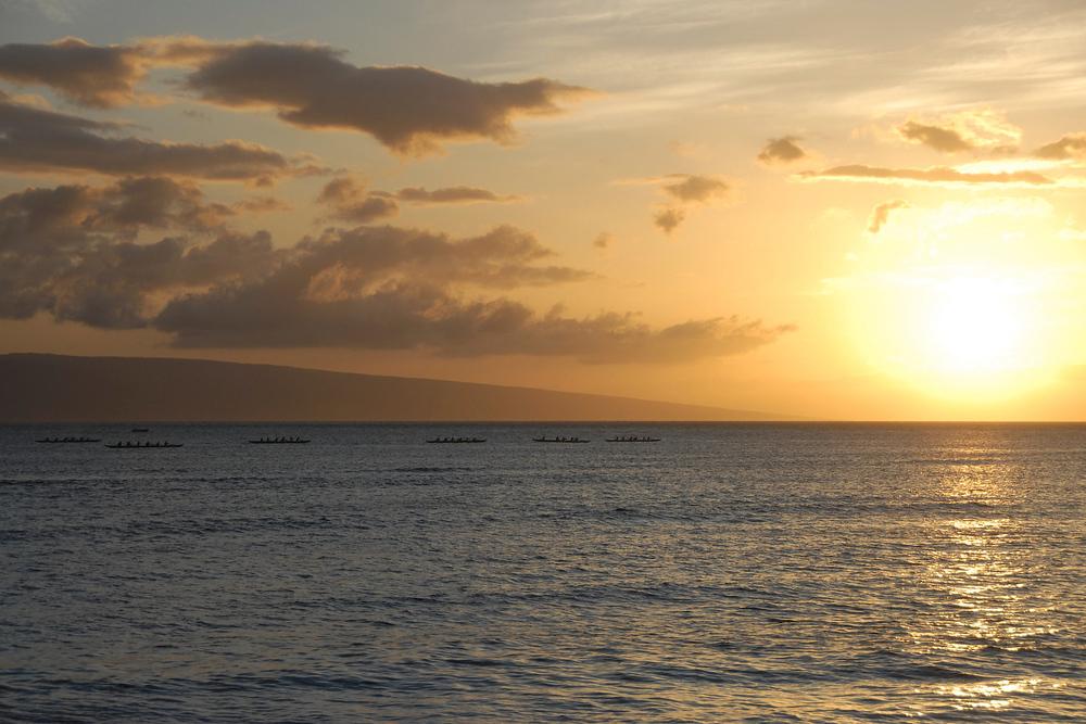 Canoers in the Sunset. Maui, Hawaii.