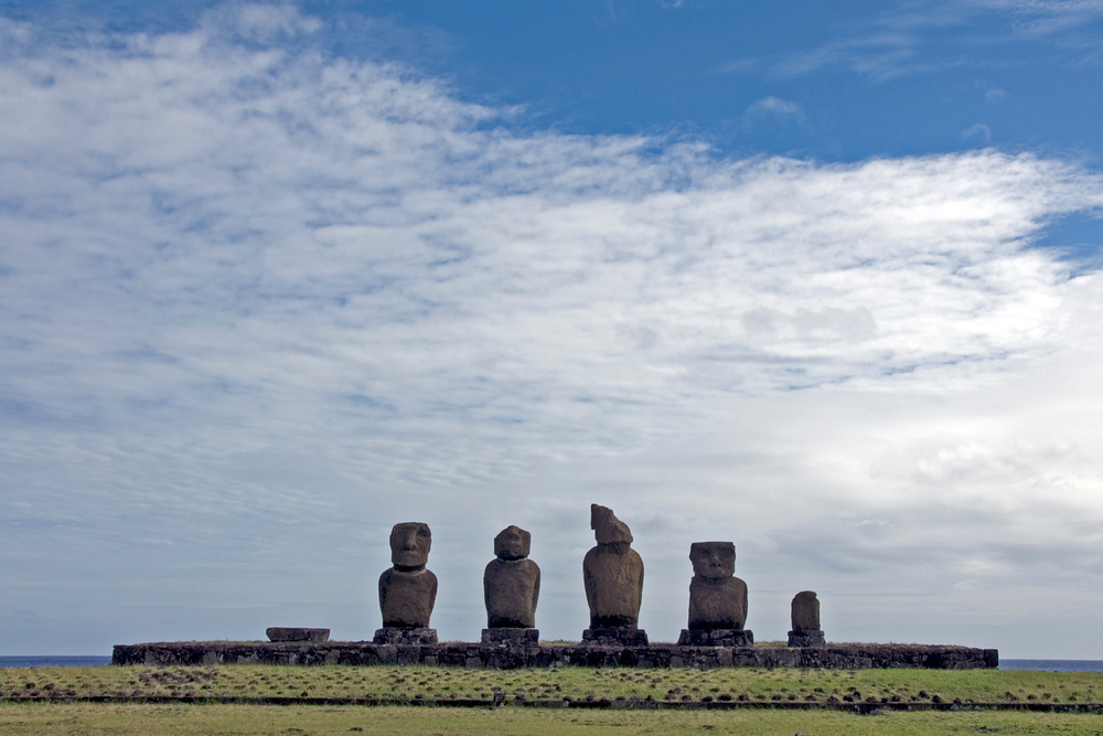 Broken maoi on Easter Island