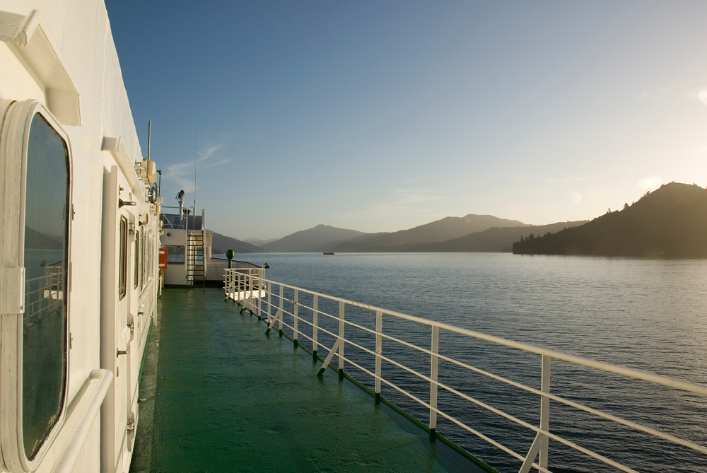 Deck of ferry in Queen Charlotte Sound, New Zealand