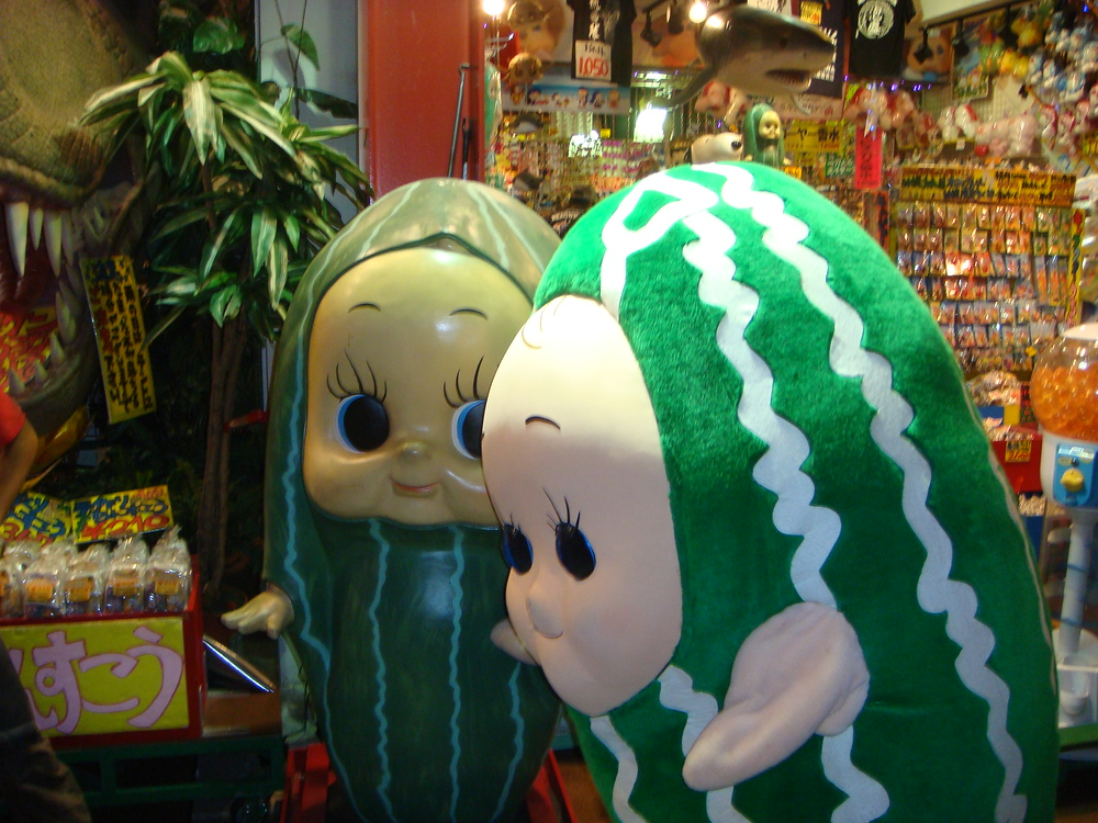 Weird pickle something man costume, Okinawa, Japan