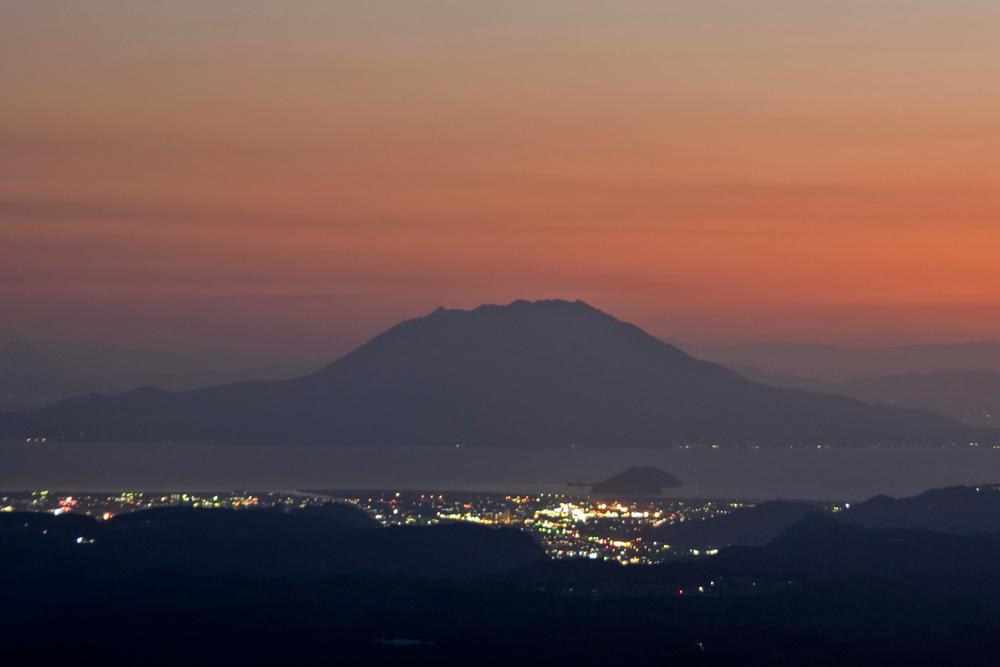 Mt. Sakurajima at Sunsket, Kirishima, Japan