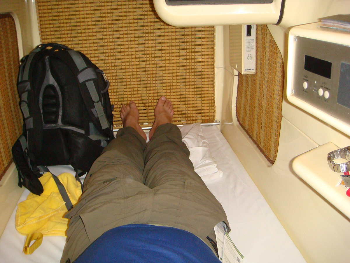 Me in a capsule hotel, Tokyo, Japan