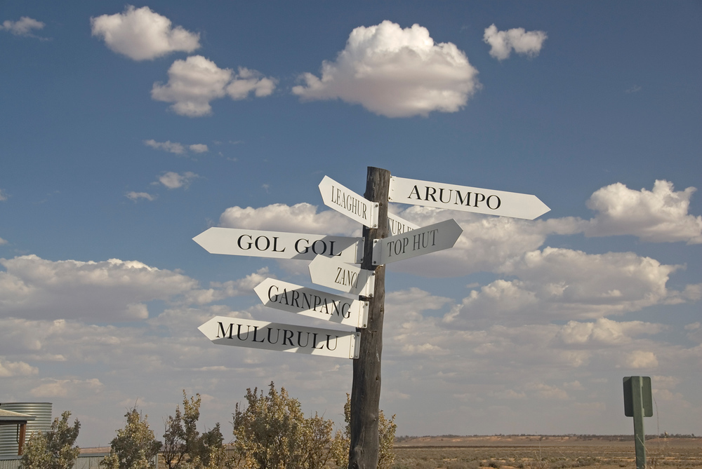 Direction sign in Mungo National Park, NSW, Australia