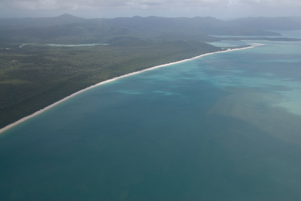 4 mile beach as seen from helicopter. Whitsunday Islands, Queensland.