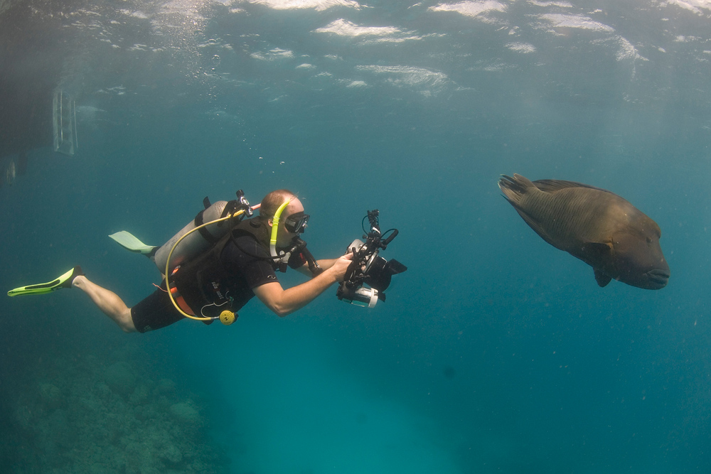 Me taking photos in the Great Barrier Reef, Australia