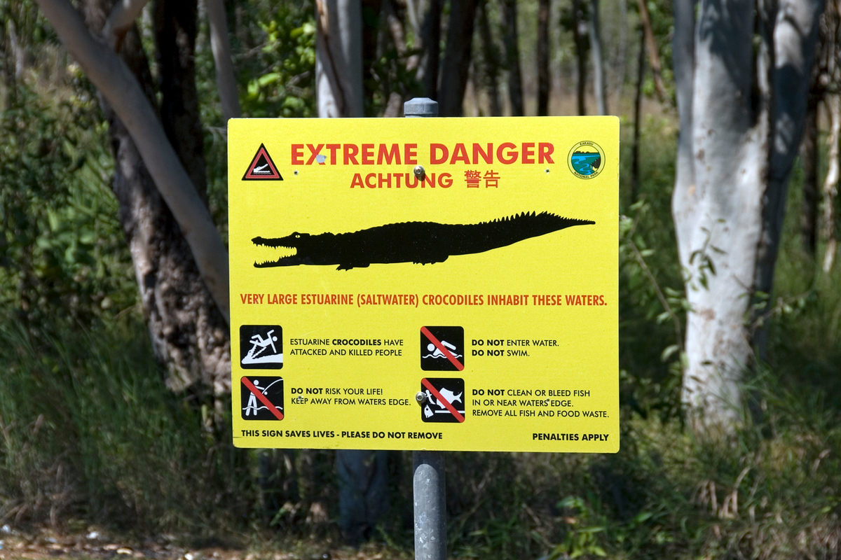 Crocodile warning sign, Kakadu National Park, Australia