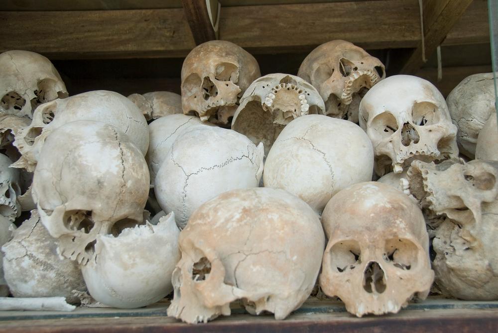 Skulls at the Killing Fields, Cambodia