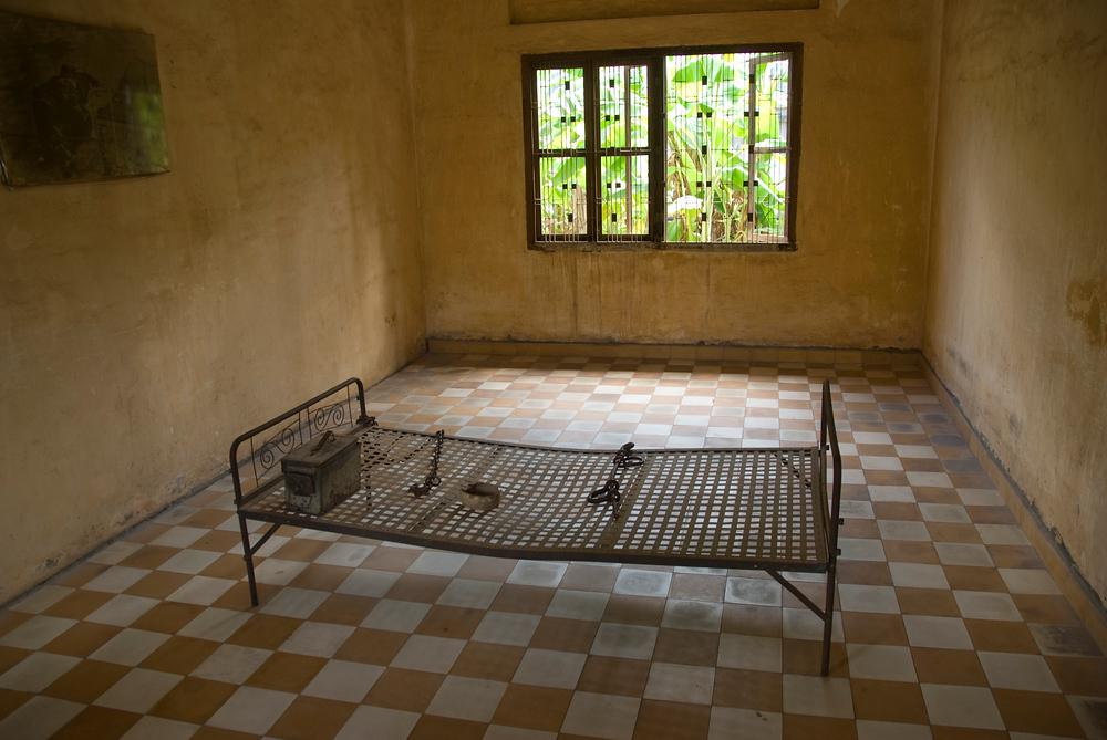 Prison bed, Toul Seng Prison, Phnom Penh, Cambodia