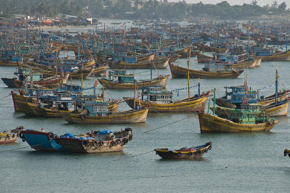 Fishing boats in harbor, Mui Ne, Vietnam