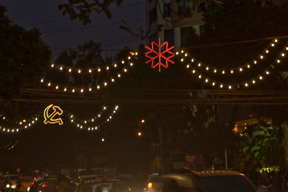 Hammer and Sickle Christmas Lights, Hanoi, Vietnam