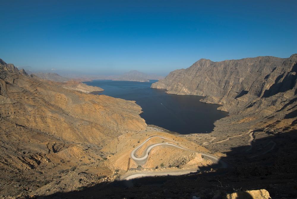 Fjord in the Hajar mountains, Musandam, Oman