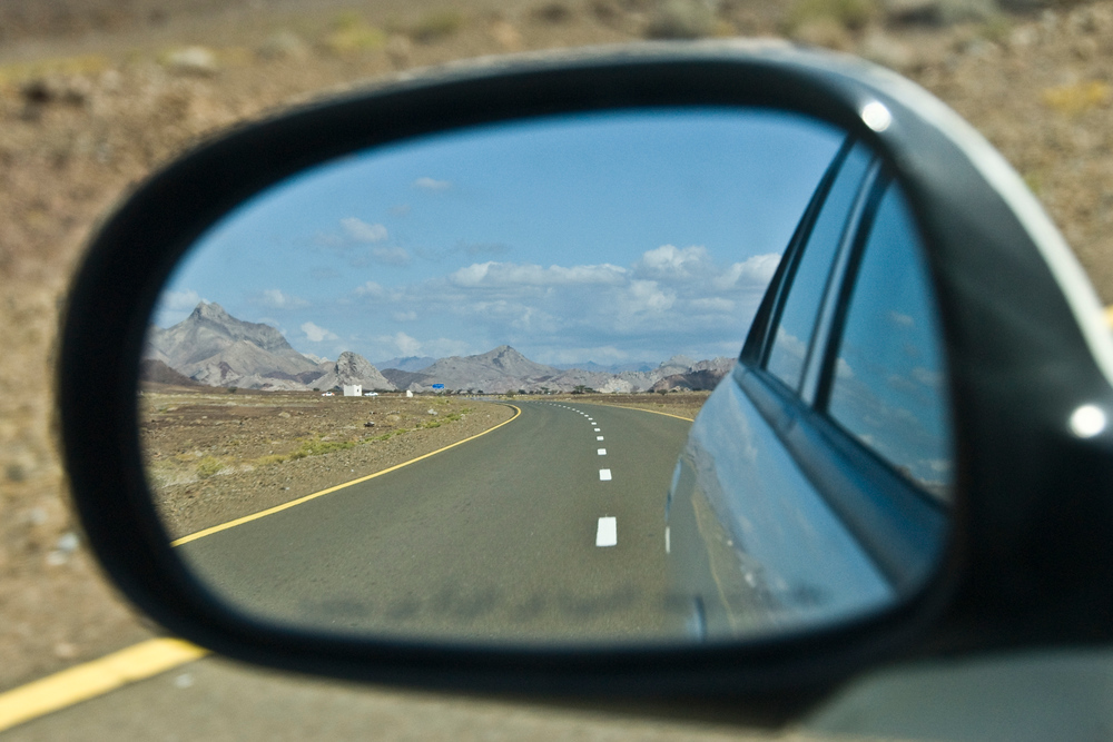 Mountains in rear view mirror, Oman