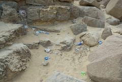 Litter at the base of the pyramids