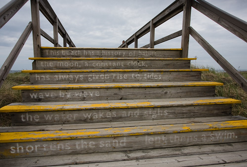poetry on stairs, Crane Beach
