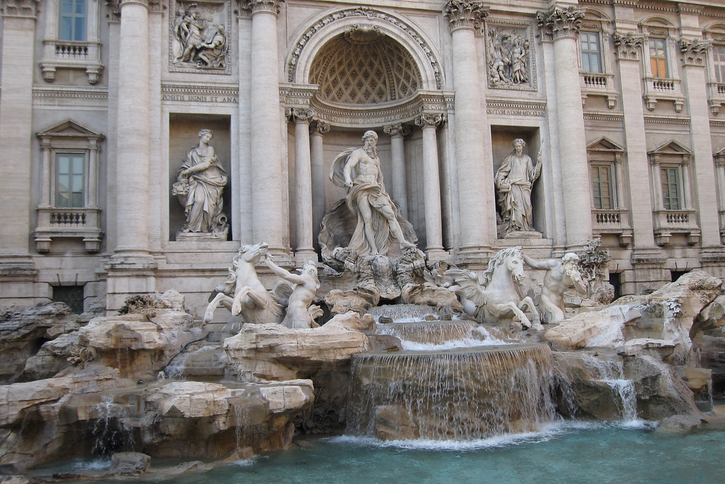 The Baroque Trevi Fountain, located in historic Rome.