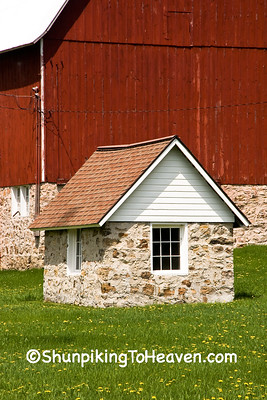 Stone Milkhouse on Sunny Spring Day, Sauk County, Wisconsin