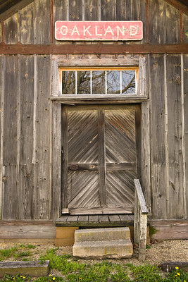 Door of Oakland Railroad Depot, Coles County, Illinois