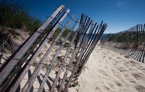 fencing pushed by sand and wind