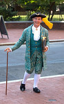 Tour guide in full 18th century costume in Philadelphia